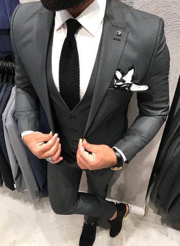 Dark Charcoal 3 Piece Suit in 2020 | Grey suit wedding, Charcoal .