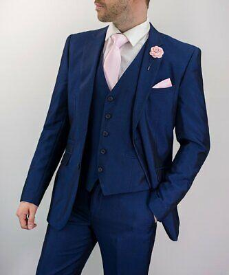 Mens Cavani Ford Royal Blue 3 Piece Suit wedding Suit Regular Fit .