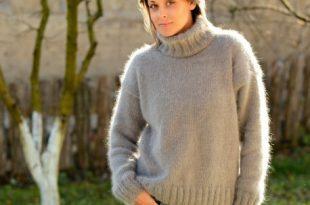 Hand knit pure angora sweater turtleneck light gray by Extravagant