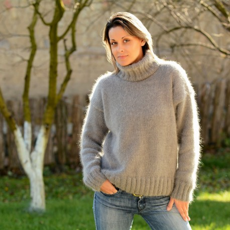 Hand knit pure angora sweater turtleneck light gray by Extravagant