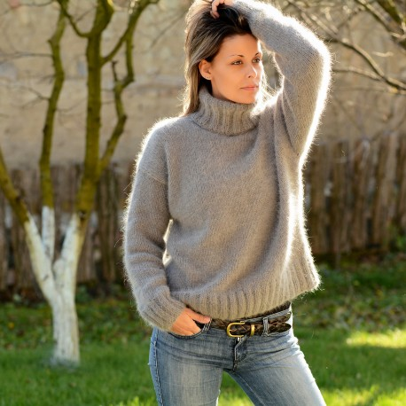 2 strands hand knit pure angora sweater Light Gray Turtleneck by .