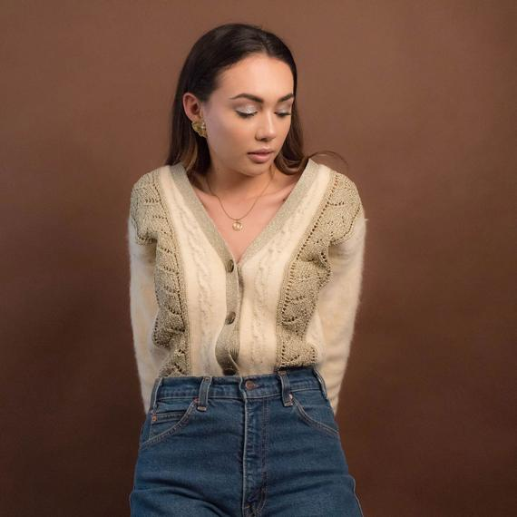 Vintage Angora Sweater. Cable Knit Cardigan. Vintage Angora | Et