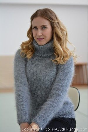 Classic cabled Tneck mohair sweater in gray/T91 in 2020 | Angora .