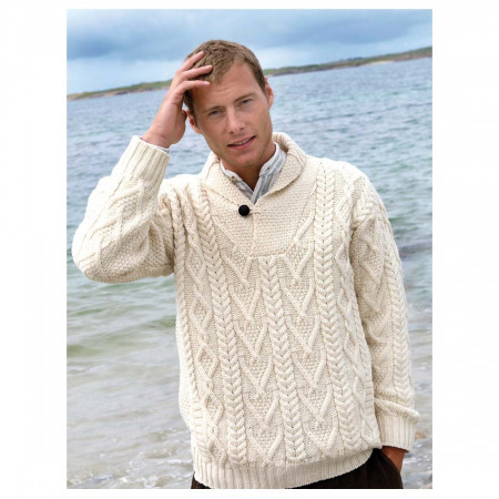 100% Merino Wool Aran Shawl Collar Aran Sweater, Natural Colo