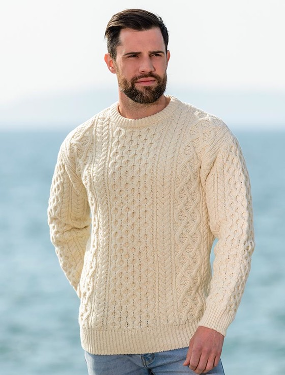 Heavyweight Merino Wool Aran Sweater, Cable Knit | Aran Sweater Mark