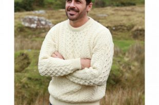 100% Natural Wool Crew Neck Traditional Aran Sweater, White Colo
