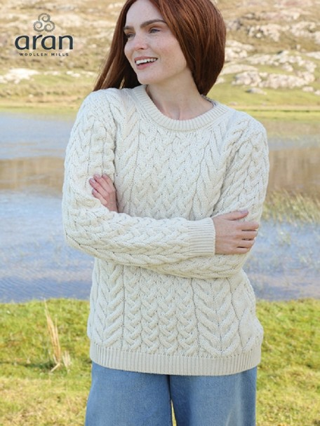 Super Soft Merino Wool Traditional Aran Sweater Natural | The .