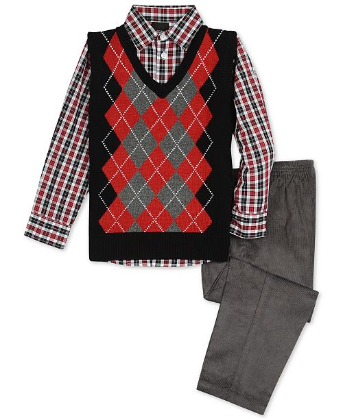 TFW Toddler Boys 3-Pc. Argyle Sweater Vest, Shirt & Pants Set .