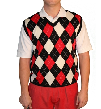 Argyle Golf Sweater Vest | Black/Red/White | Me