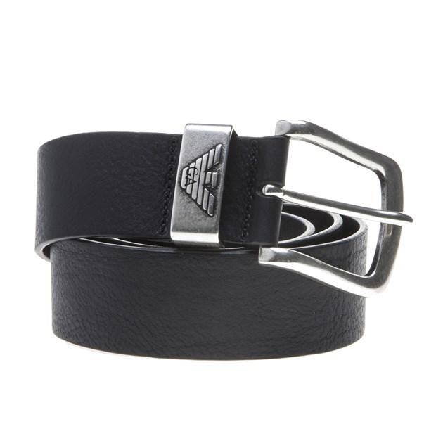 New Mens Emporio Armani Black Leather Logo Belt Belts | eB