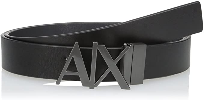 Amazon.com: Armani Exchange Men's Leather Logo Hinge Belt: Clothi