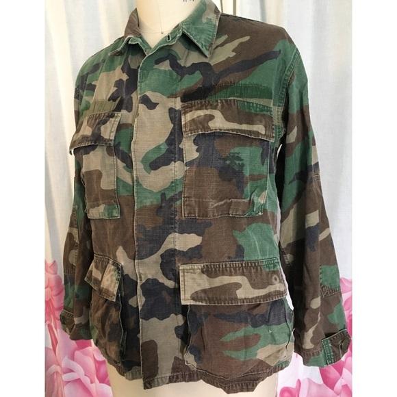 Jackets & Coats | Real Army Military Fatigue Jacket Green Camo .