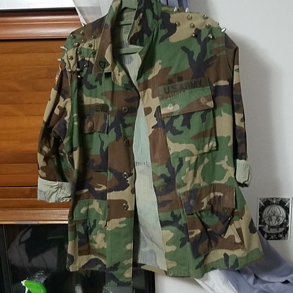 Zara Jackets & Coats | Camo Army Jacket With Diy Studs | Poshma