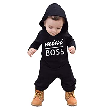 Amazon.com: Kids Baby Boys Clothes Long Sleeve Letter Print Hoodie .
