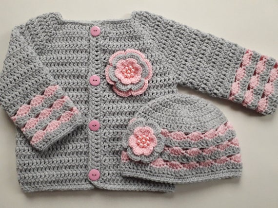 Crochet Pattern Baby Sweater and Hat Set Baby Gift baby | Et