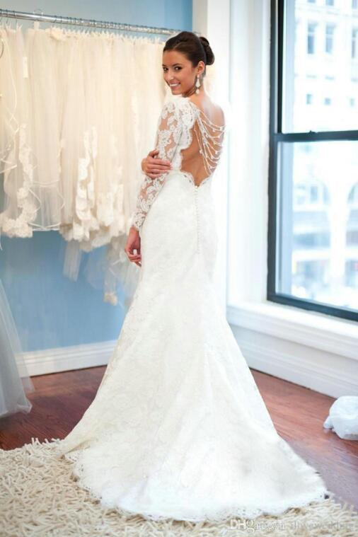 7 Pretty lace backless wedding dresses gowns