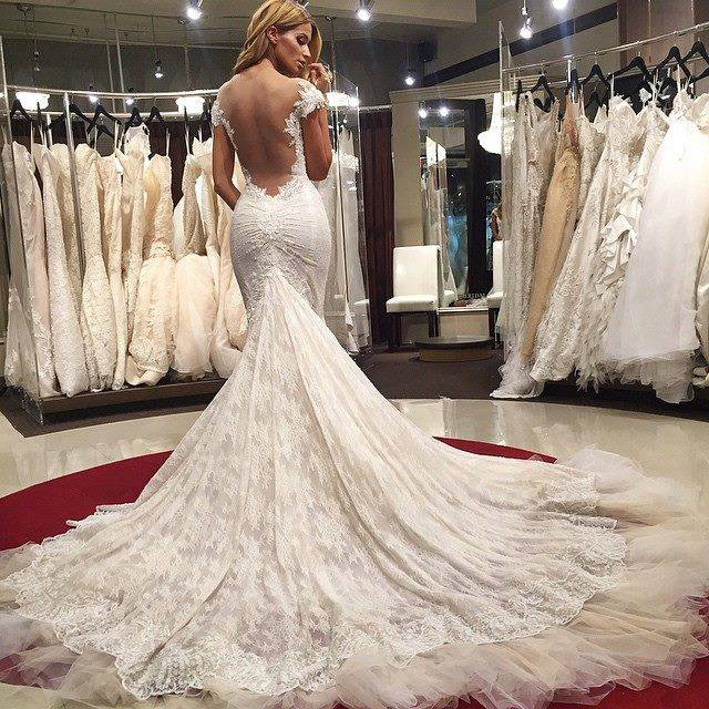 Sexy Wedding Dresses, Mermaid Wedding Dress Lace Backless Wedding .