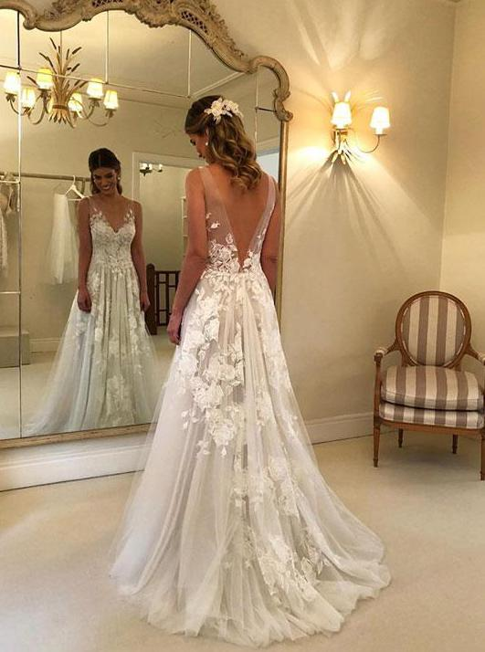 V neck Tulle Lace Appliques Long Beach Backless Wedding Dress .
