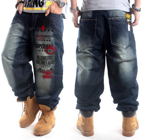 2020 New Plus Size Hip Hop Baggy Jeans Men Letter Print Hip Hop .