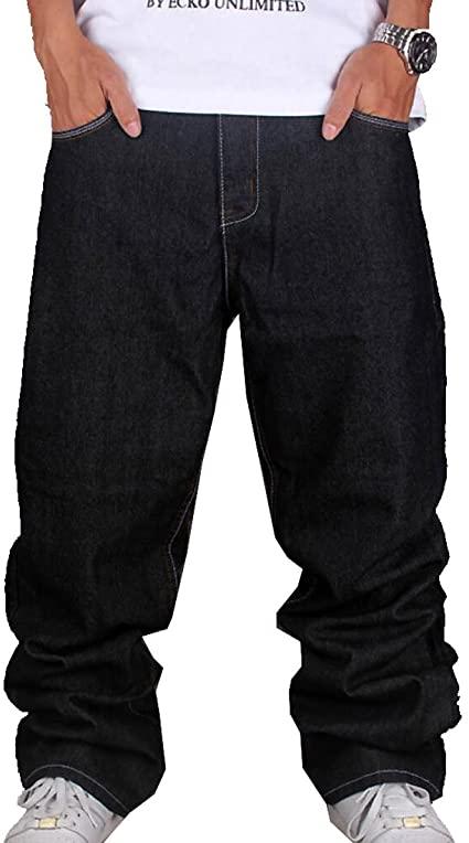 Tomteamell Mens Denim Pants Hip Hop Loose Fit Baggy Jeans at .