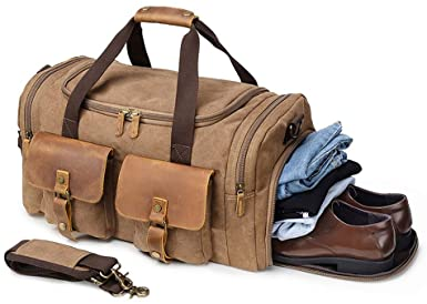 Amazon.com | Kemy's Canvas Duffle Bag for Mens Oversized Overnight .