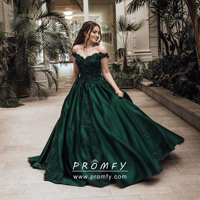 Dark Green Vintage Off-the-shoulder Prom Ball Gown - Prom