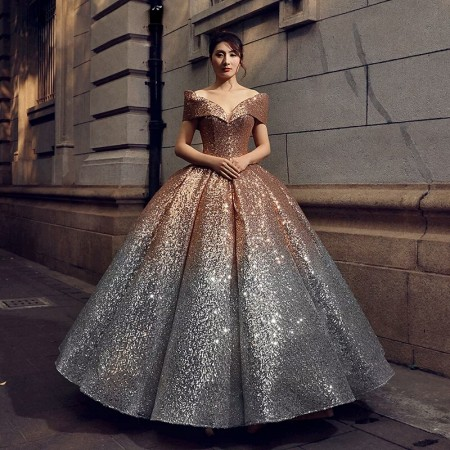 Sweetheart Ball Gown Gradient Color Evening Dresses Bling Off .