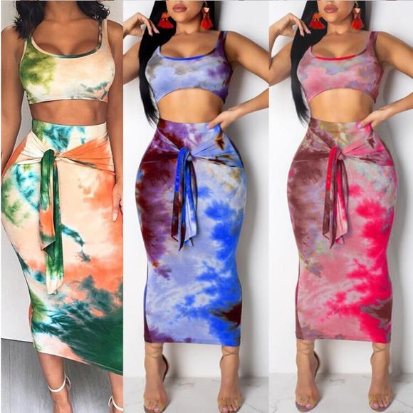 2Pcs Sleeveless Crop Top Bandaged Skirt – Emotion