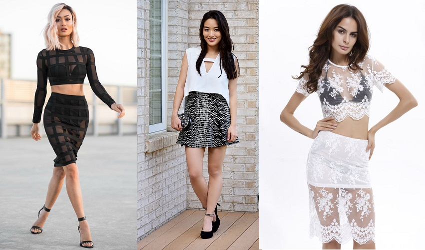 Crop Tops With A Bandaged Skirt - FashionBuzzer.c