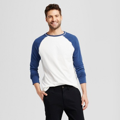 Men's Standard Fit Long Sleeve Raglan Color Block Crew T-Shirt .