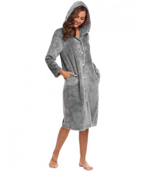 Women Hooded Soft Plush Fleece Spa Bathrobe Long Sleep Robe S-XXL .