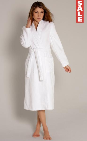 Women's Velour Terry Kimono Bathrobe - Whi