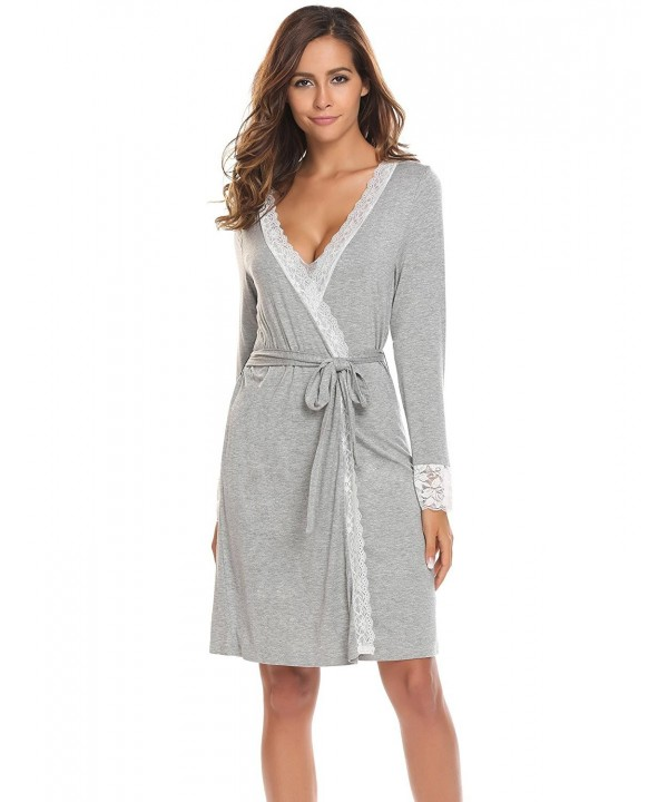 Bathrobes Women's Soft Lace-Trimmed Robe Long Sleeve Sleepwear S .