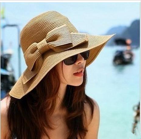 EUBUY Fashion Korean Style Floppy Wide Brimmed Summer Beach Bow .