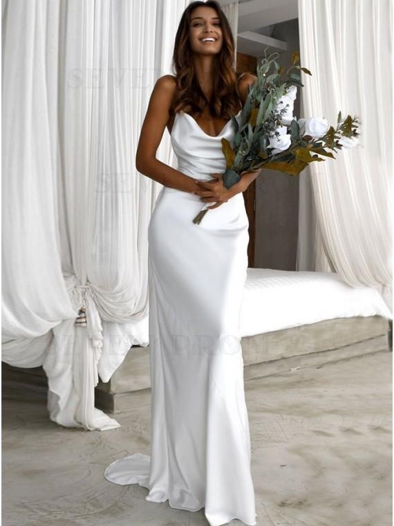 Buy Free Shipping Simple Sheath Cowl Backless Beach Wedding Dress .
