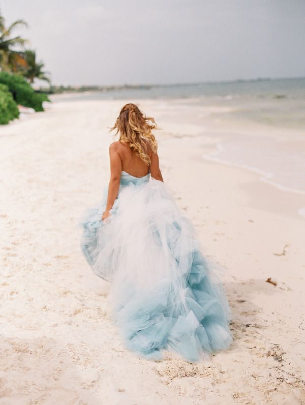 Gorgeous blue ombre wedding dress: http://www.stylemepretty.com .