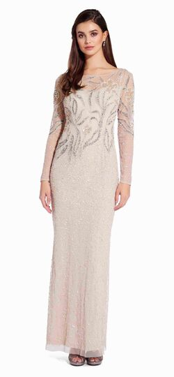 Floral Beaded Dress with Sheer Long Sleev