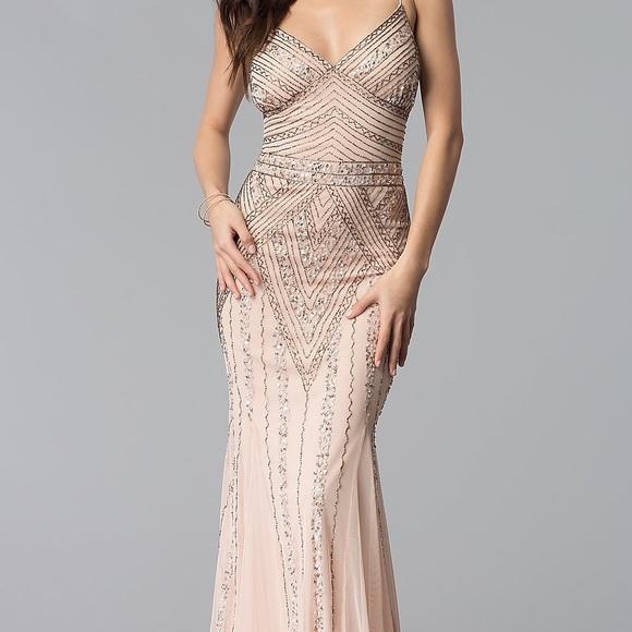 MARINA Dresses | Beaded Blush Gown | Poshma