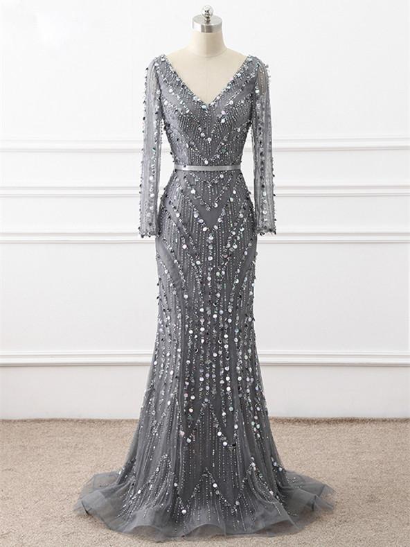 Chic V Neck Long Sleeve Chapel Train Prom Dresses,Shiny Beaded .