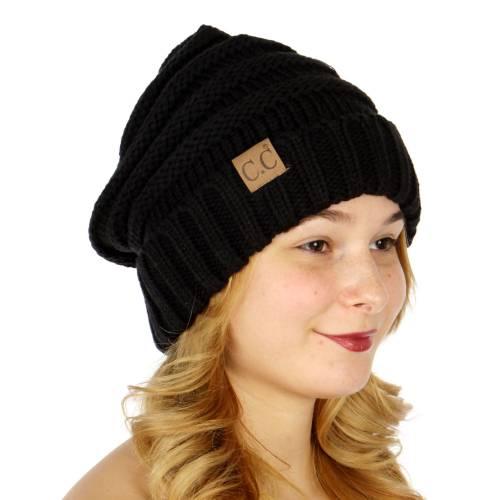 Black Slouchy Knit CC Beanie H