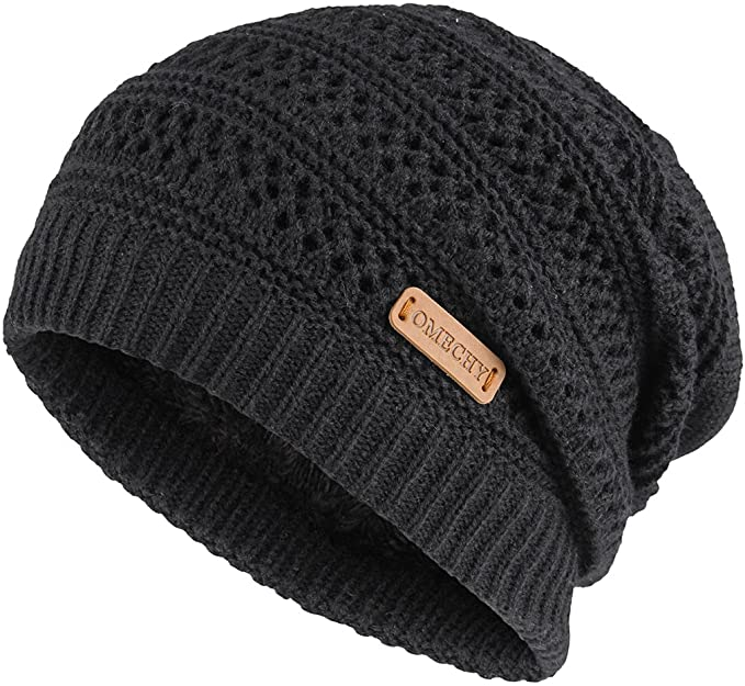 OMECHY Slouchy Beanie Hats Unisex Daily Knit Skull Cap Winter Warm .