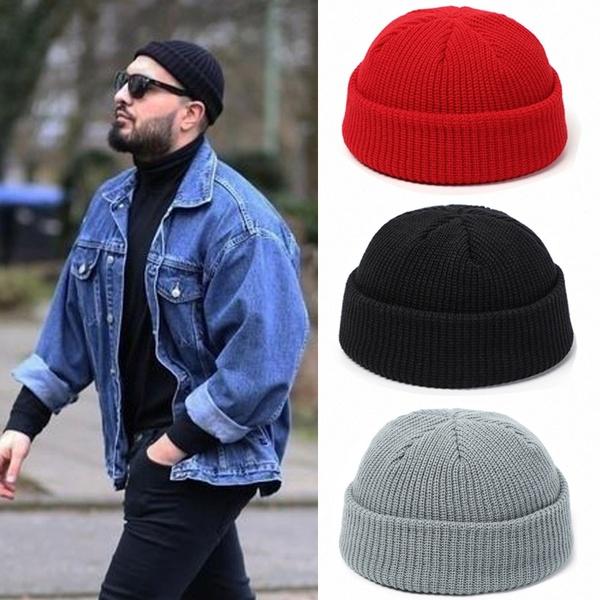 Knitted Hats for Women Skullcap Men Beanie Hat Winter Retro .
