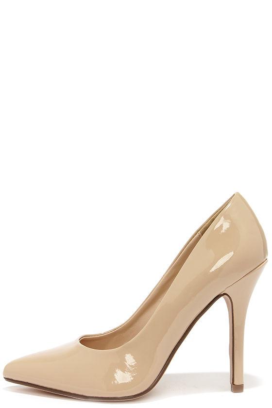 Pretty Beige Pumps - Beige Shoes - Pointed Pumps - Nude Pumps - $22.