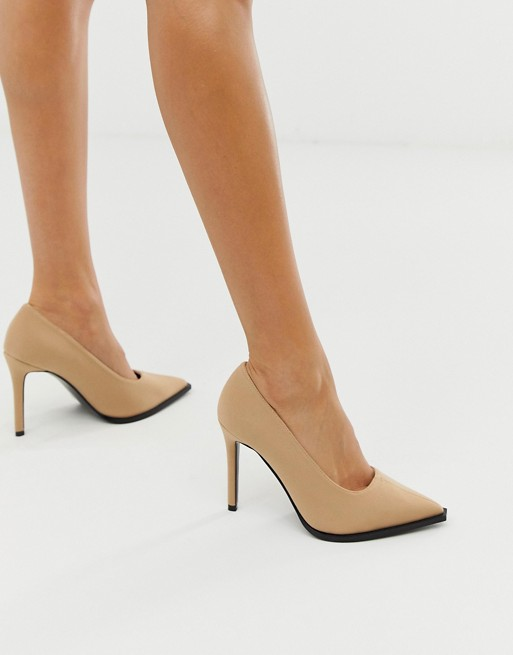 ASOS DESIGN Powerful high heeled pumps in beige | AS
