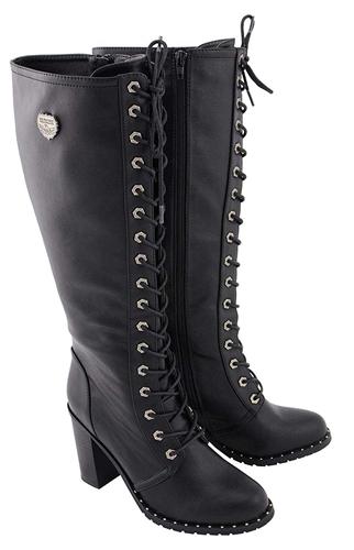 Milwaukee Biker Boots: Ladies Tall Lace-