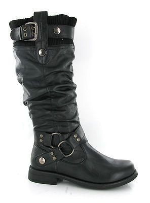 Womens Soft Sock Top Tall Black Fashion Mid Calf Biker Boots Size .