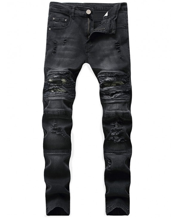 Ripped Camo Panel Faded Wash Biker Jeans - Black - 3L79026014 Size