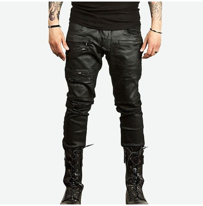 Triple Zipper Accent Coated Biker Jeans | RebelsMark