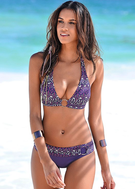 Purple Wave Halter Ring Bikini Top Swimsuit - VEN
