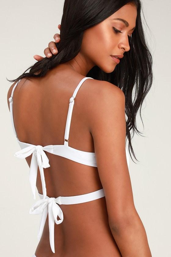 Cute White Bikini Top - Tie-Back Bikini Top - White Swim T